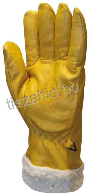 """2490 """"Islande"""": 32 cm hosszú, sárga színmarhabőr kesztyű"""