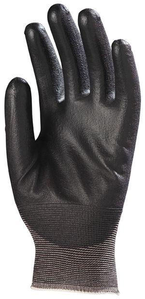 6430 Tenyéren mártott PU kesztyű fekete