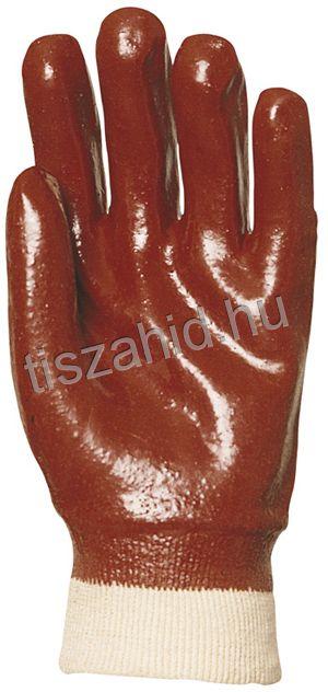 3409 pamutra ökölcsontig mártott bordó PVC kesztyű