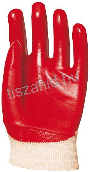 3419 pamutra ökölcsontig mártott piros PVC