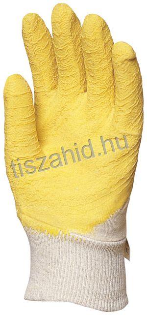 3800 pamutra ökölcsontig mártott sárga latex