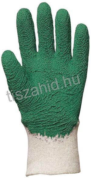 3808 pamutra ökölcsontig mártott zöld latex kesztyű
