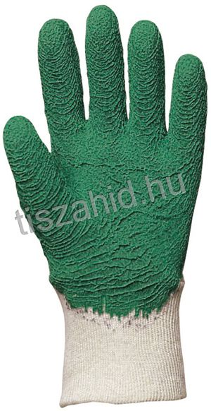 3810 pamutra ökölcsontig mártott zöld latex kesztyű