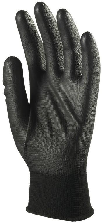 6039 Tenyéren mártott PU kesztyű fekete